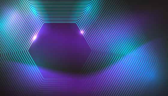 抽象六边形霓虹灯背景矢量素材(AI/EPS)