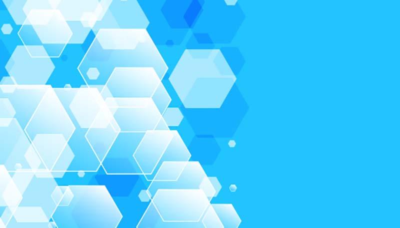 抽象发光六边形蓝色背景矢量素材(EPS)