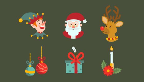 扁平风格圣诞节元素矢量素材(AI/EPS/PNG)