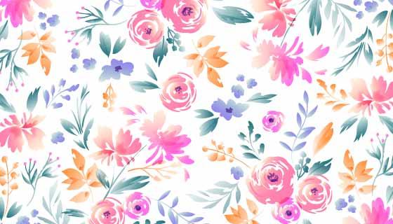 手绘漂亮花卉背景矢量素材(AI/EPS/PNG)