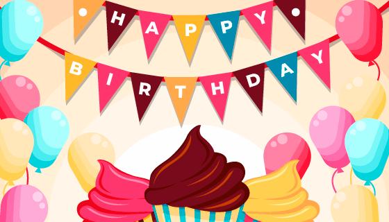 气球蛋糕生日快乐背景矢量素材(AI/EPS)