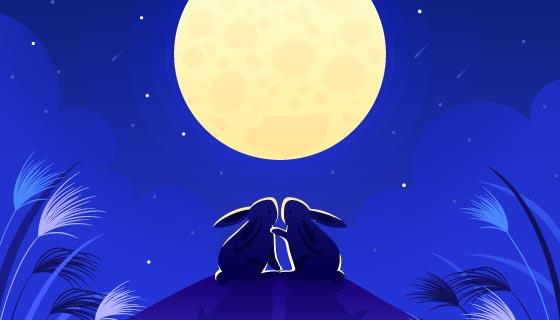 兔子望月中秋节矢量素材(AI/EPS)