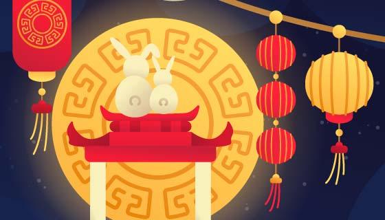 兔子登高望月中秋节矢量素材(AI/EPS)