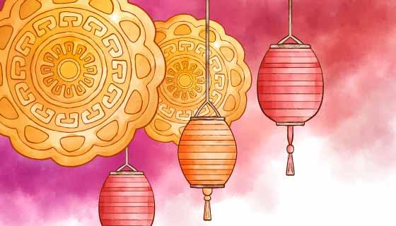水彩月饼和灯笼中秋节矢量素材(AI/EPS)