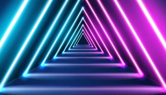 三角形霓虹灯形状背景矢量素材(AI/EPS)