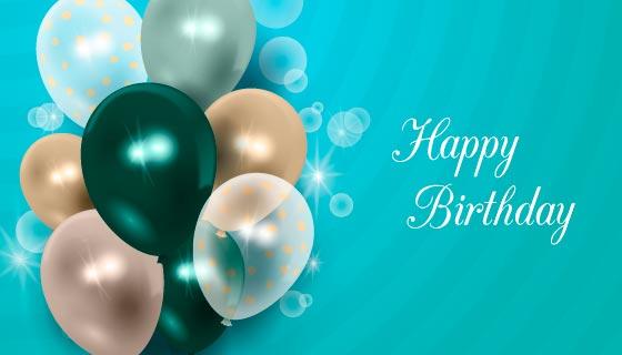 逼真气球设计生日快乐背景矢量素材(AI/EPS)