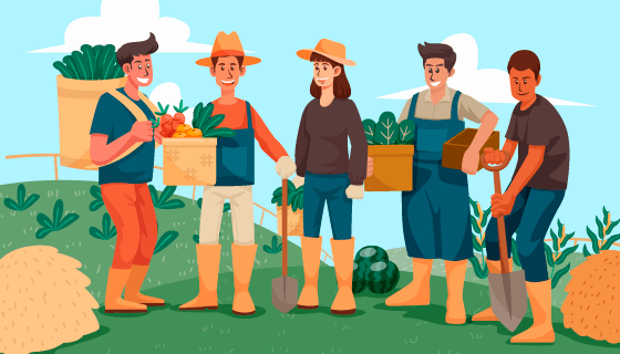 农场上工作的人们矢量素材(AI/EPS)