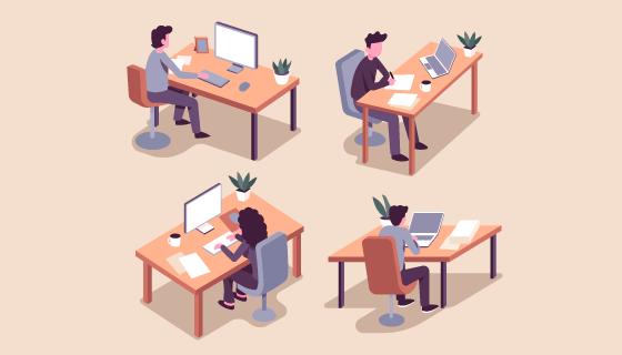 坐在办公桌上办公的人们矢量素材(AI/EPS/PNG)