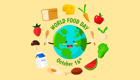 食物环绕地球世界粮食日矢量素材(AI/EPS/PNG)