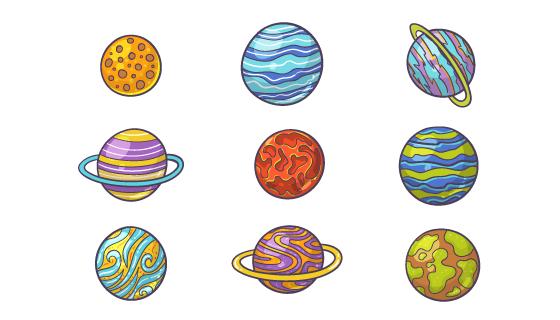 手绘风格星球集合矢量素材(AI/EPS/PNG)
