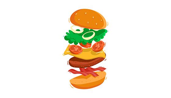 美味食材组成的汉堡矢量素材(EPS/AI)