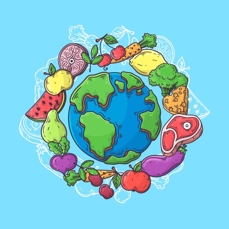 食物环绕地球世界粮食日矢量素材(AI/EPS/免扣PNG)