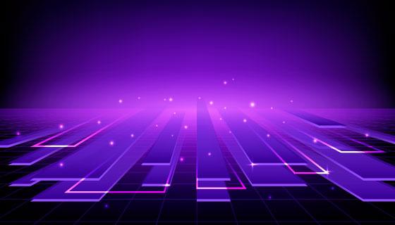 紫色地平线概念设计矢量素材(AI/EPS)