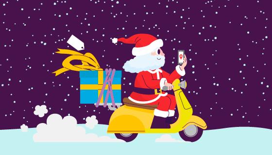 骑摩托车送礼物的圣诞老人矢量素材(AI/EPS/PNG)