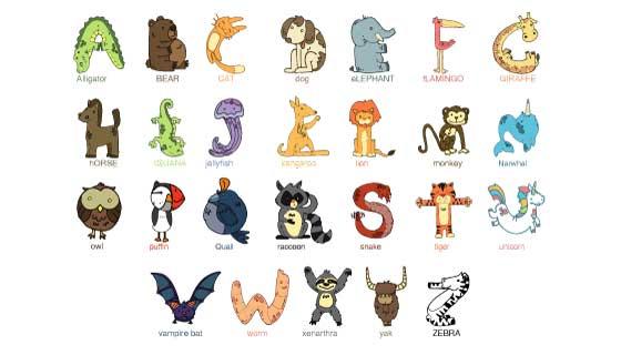 可爱的动物字母矢量素材(AI/EPS/PNG)