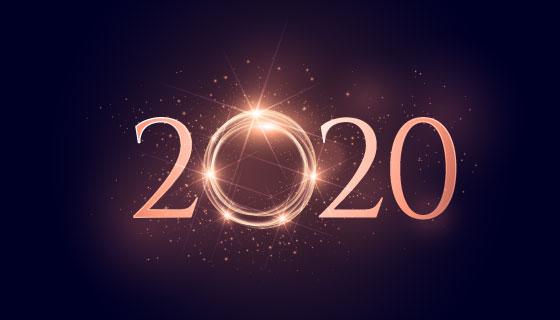 发光的2020新年背景矢量素材(EPS)