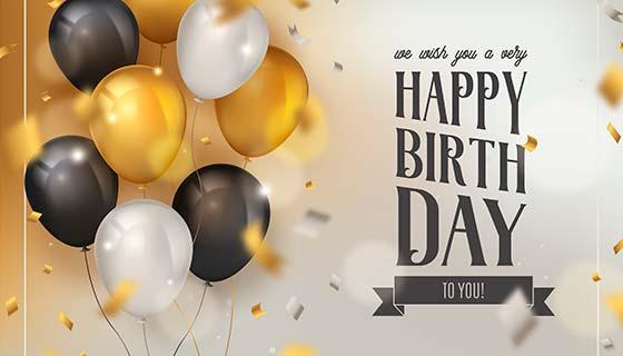 逼真气球和五彩纸屑生日快乐背景矢量素材(EPS)