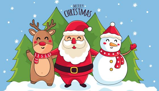 手绘可爱圣诞节背景矢量素材(AI/EPS)