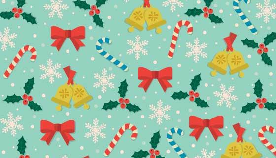 糖果丝带铃铛圣诞节背景矢量素材(AI/EPS/PNG)