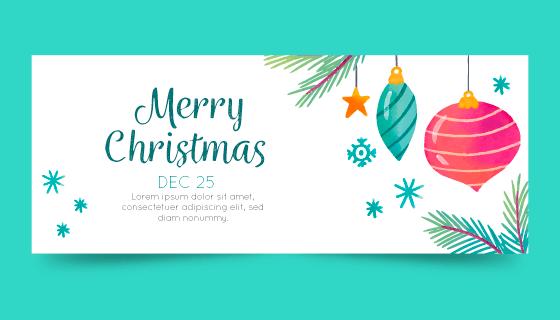 装饰品设计圣诞节banner矢量素材(AI/EPS/PNG)