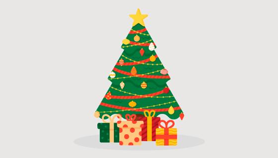 扁平风格圣诞树矢量素材(AI/EPS/PNG)