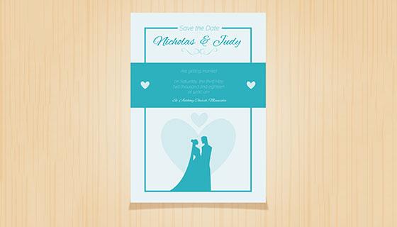 蓝色婚礼卡片矢量素材(EPS/AI)
