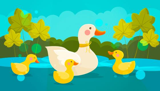 卡通风格鸭妈妈和小鸭子矢量素材(AI/EPS)