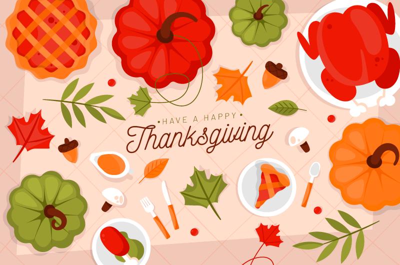 俯视美味食物感恩节背景矢量素材(AI/EPS)