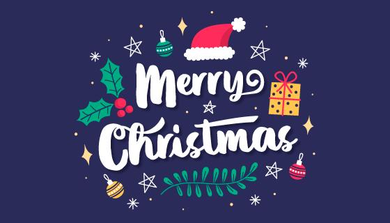 手绘风格圣诞节字母和元素矢量素材(AI/EPS/PNG)