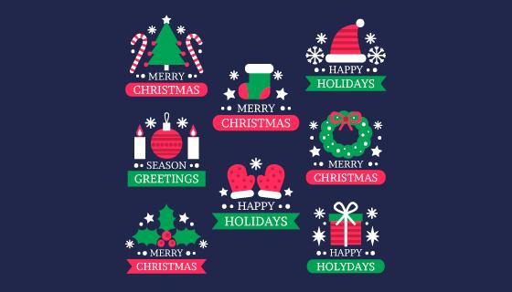 扁平风格圣诞节徽章矢量素材(AI/EPS/PNG)