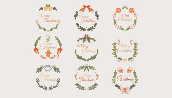 手绘风格圣诞节徽章矢量素材(AI/EPS/PNG)