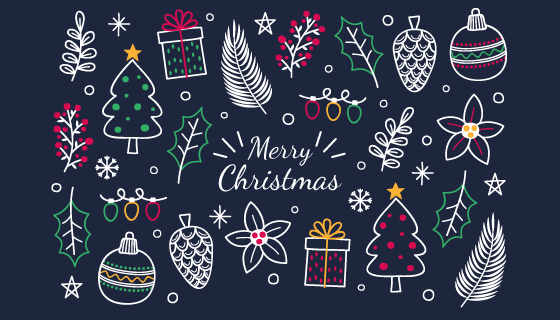 手绘风格圣诞节元素矢量素材(AI/EPS/PNG)