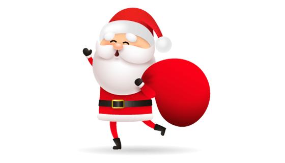 拿着礼物袋的圣诞老人矢量素材(EPS/PNG)