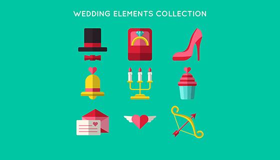 9款婚礼元素矢量素材(EPS/AI)