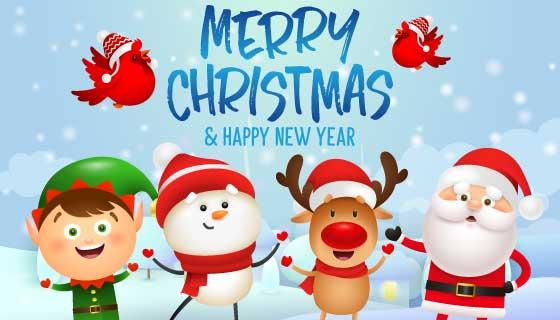 圣诞节快乐和新年快乐设计矢量素材(EPS)