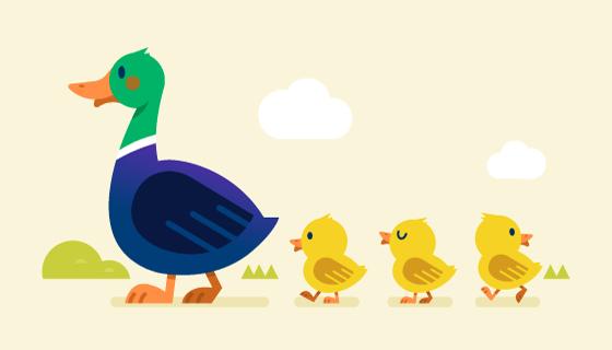 鸭妈妈带小鸭子散步矢量素材(AI/EPS/PNG)