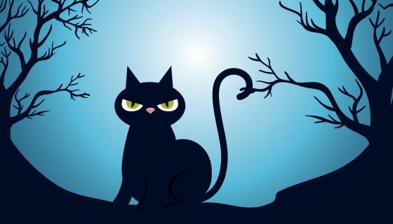 黑夜里的猫咪万圣节背景矢量素材(EPS)