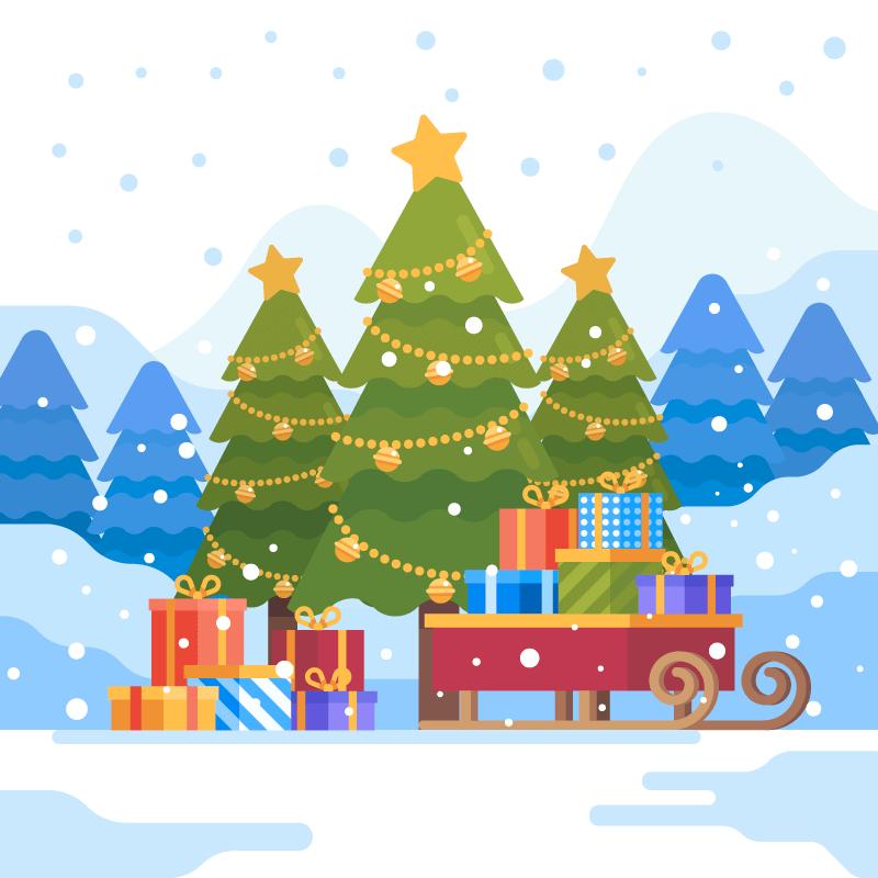 圣诞树和礼物设计圣诞节背景矢量素材(AI/EPS)