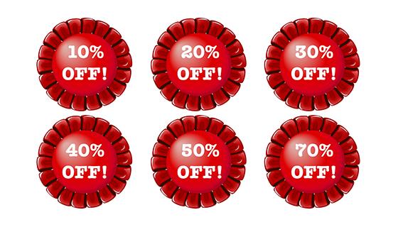 红色圆形折扣标签矢量素材(EPS)