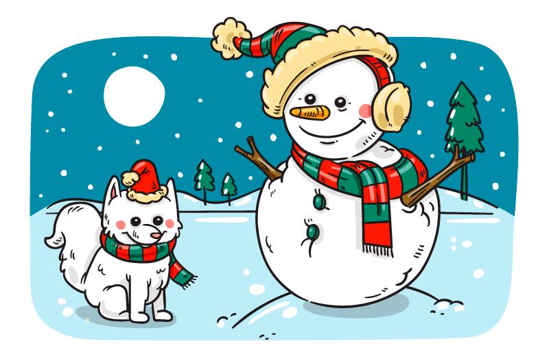 手绘雪人小狗圣诞节背景矢量素材(AI/EPS/免扣PNG)