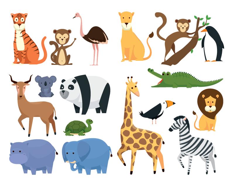 扁平风格动物集合矢量素材(EPS/免扣PNG)