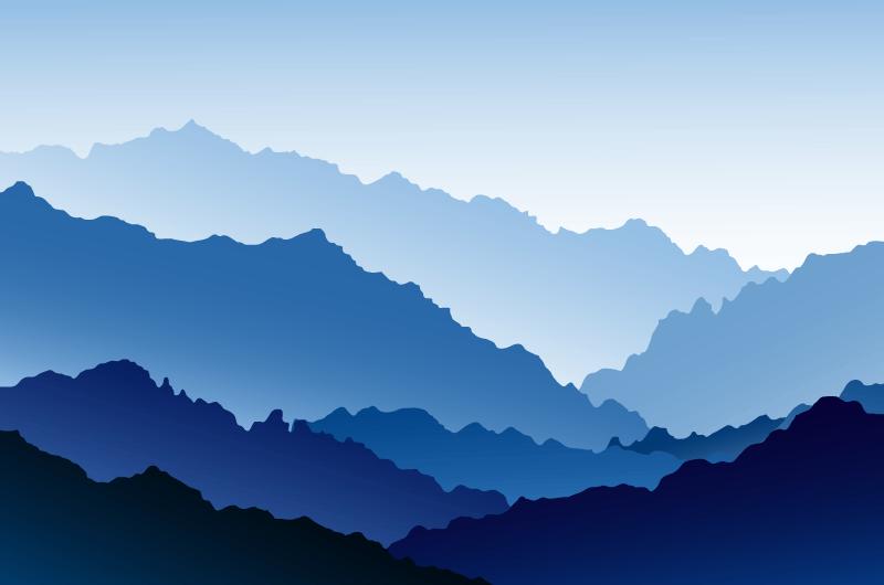 扁平风格山脉景观矢量素材(AI/EPS)