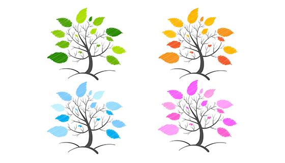 4棵不同颜色树叶的树矢量素材(EPS)