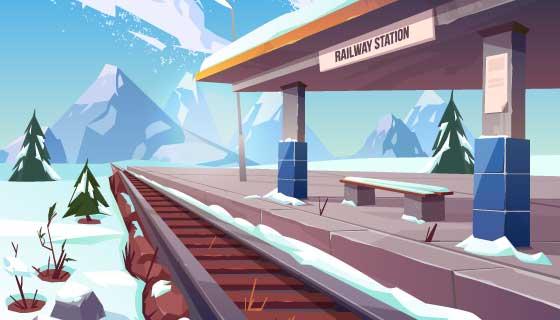 冬季雪景火车站插图矢量素材(EPS)
