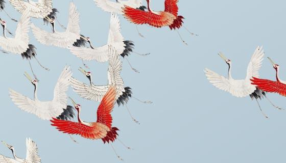 飞翔的鹤矢量素材(EPS)