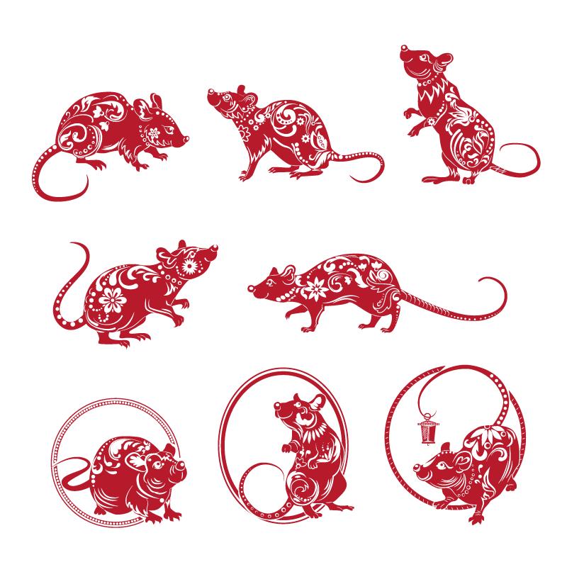 红色老鼠剪纸集合矢量素材(EPS/免扣PNG)