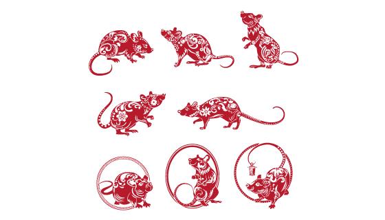 红色老鼠剪纸集合矢量素材(EPS/PNG)