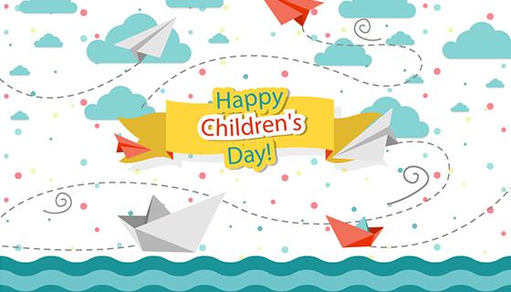 儿童节喜庆背景矢量素材(EPS/AI)
