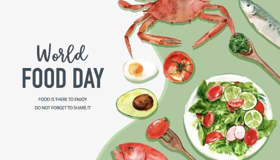 水彩风格世界粮食日矢量素材(EPS)