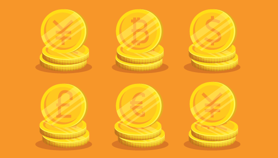 黄金钱币集合矢量素材(EPS/PNG)